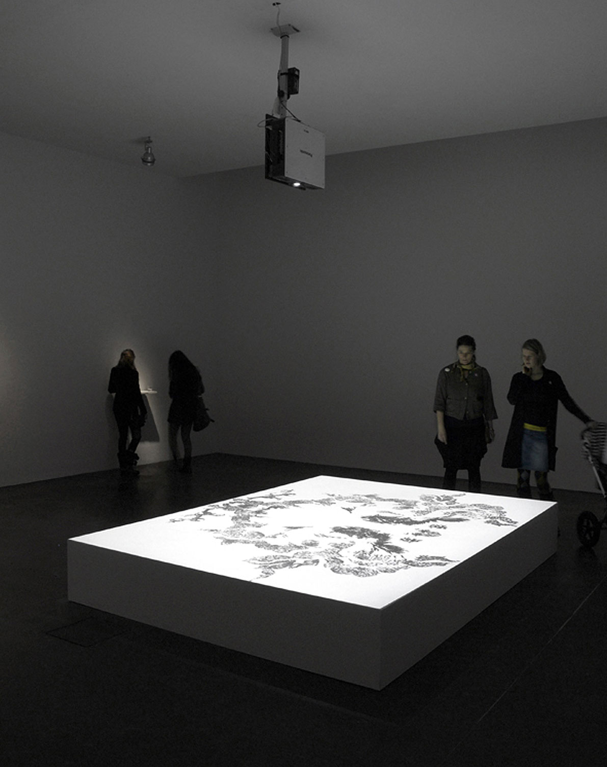Dust II, video installation, 2011, Blue ray HD video projection, duration: 17'56'', pedestal, 350 cm x 200 cm x 35 cm