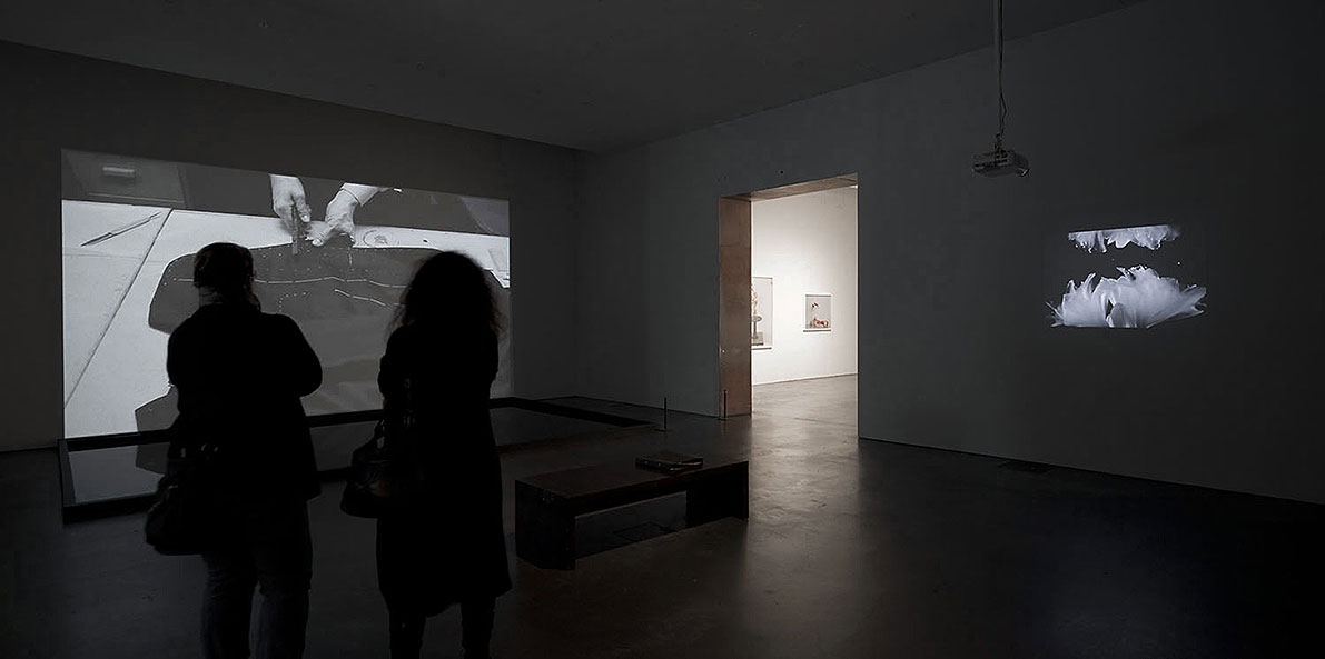 installation view, Man Before A Mirror 2011, recording on magnetophon - text based on a poem by Rrose Sélavy, 2 video projections, water pool