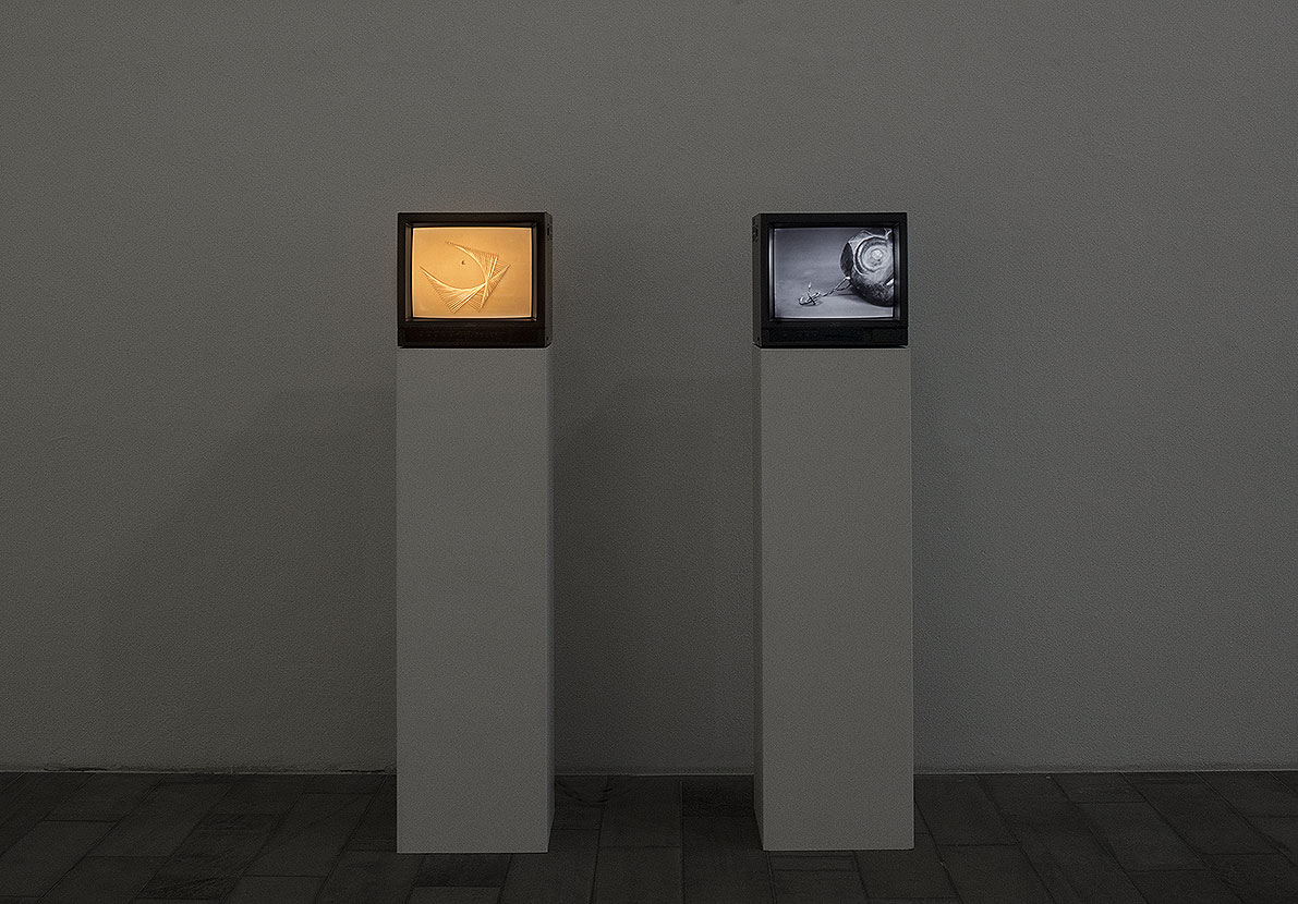 Oracle, 2016, 2 channel video installation in monitors, media: 8 mm film transferred to HDV, duration: 07 min. 26 sec.
