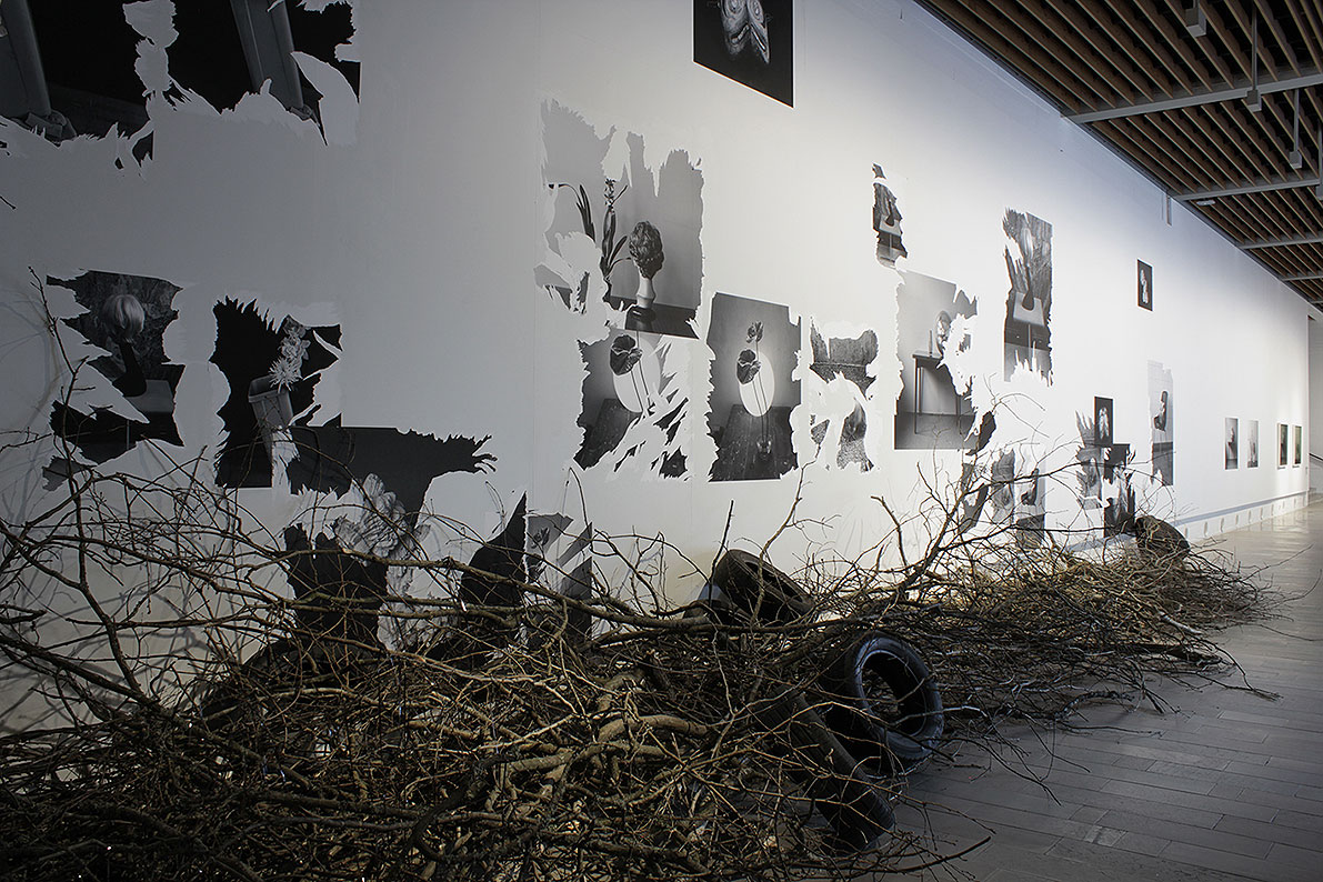 Wasteland, 35 posters glued to the wall and ripped, car tyres, c-cassette tape, branches, sound recording of sparrows.