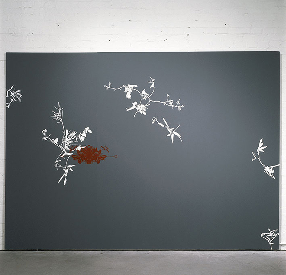 panel: chipboard, hand cut self adhesive PVC ornaments, 244 x 366 cm