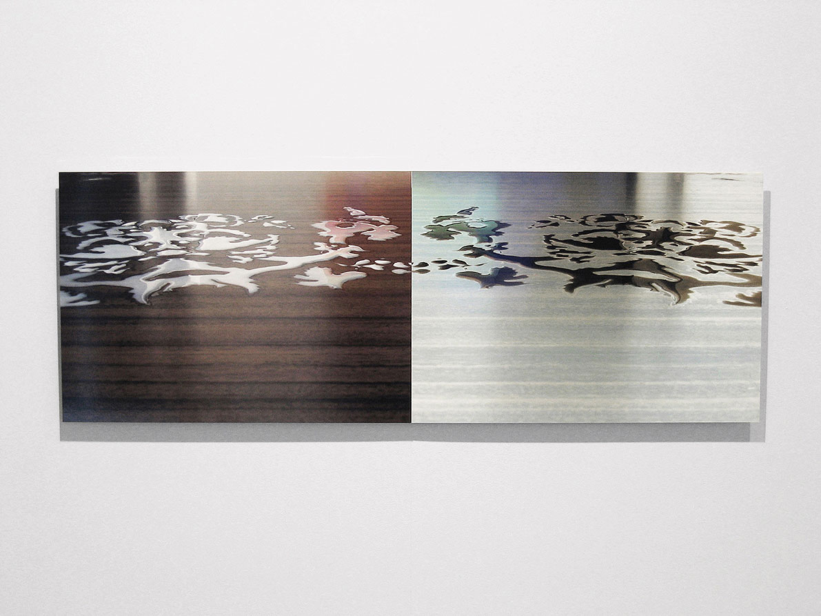 Replica III, (photography of a pattern painted with milk), c-print on aluminium, size: 50 x 140 cm