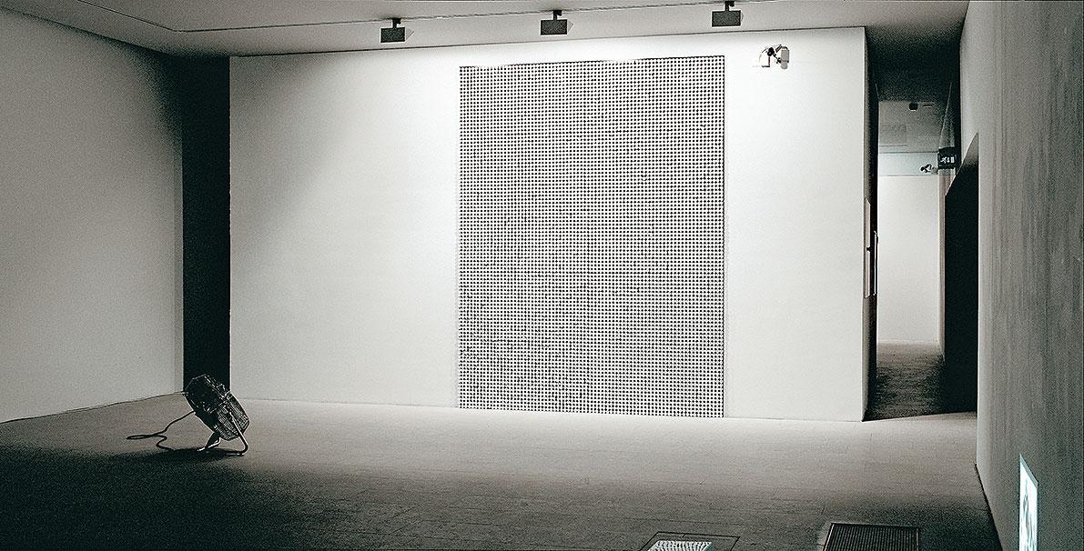 Disturbance, electrical fan, veneer, plastic, nails, size: 300 x 250 cm